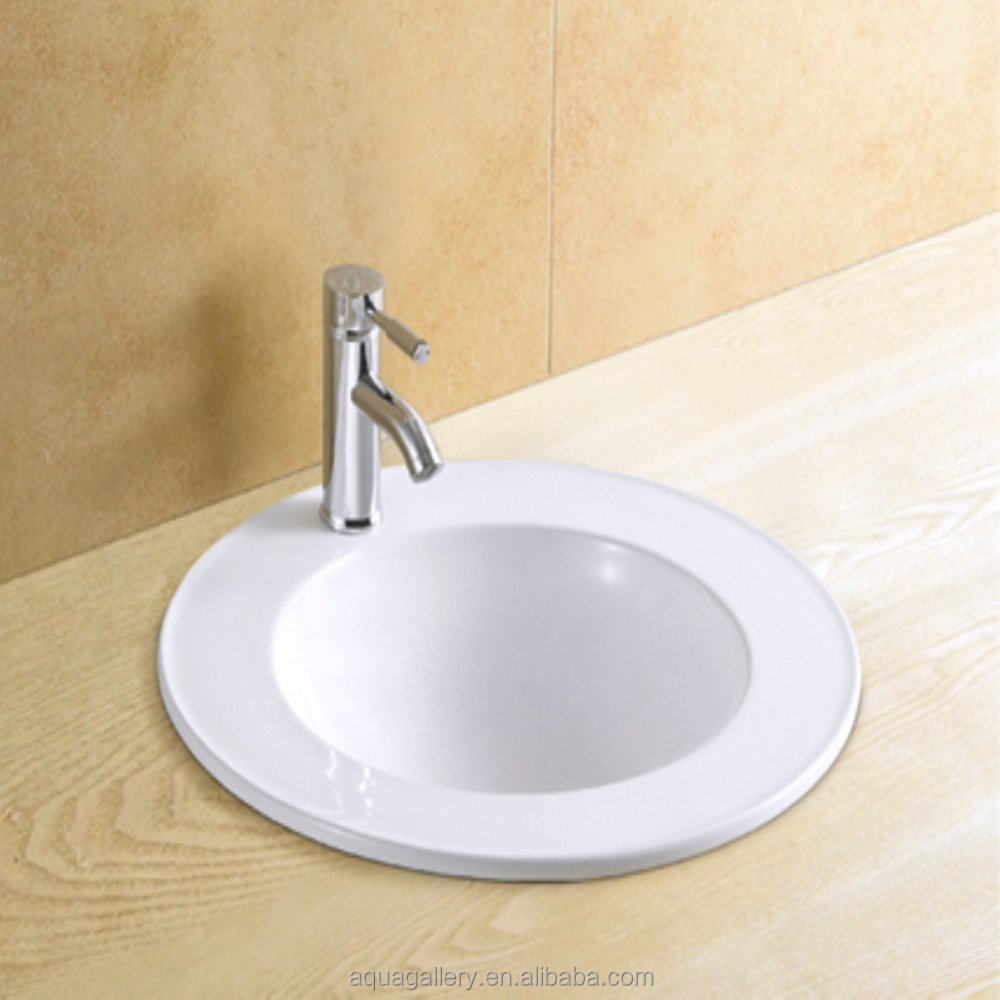 Bathroom Countertop Recessed Round Porcelain Sink