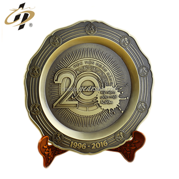Die casting antique bronze custom metal 3D emboss commemorative plate