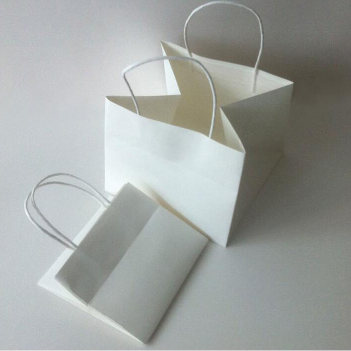 China Supplier Square Bottom Large Size White Kraft Paper Shopping Merchandise Party Gift Vellum Paper Bags