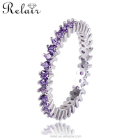 High quality jewelry s925 silver rings with purple stone finger ring silver amethyst ring jewellery