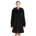 QD70782 chinese male mink leather hat hooded elasic armhole silm waist black natural mink fur coat