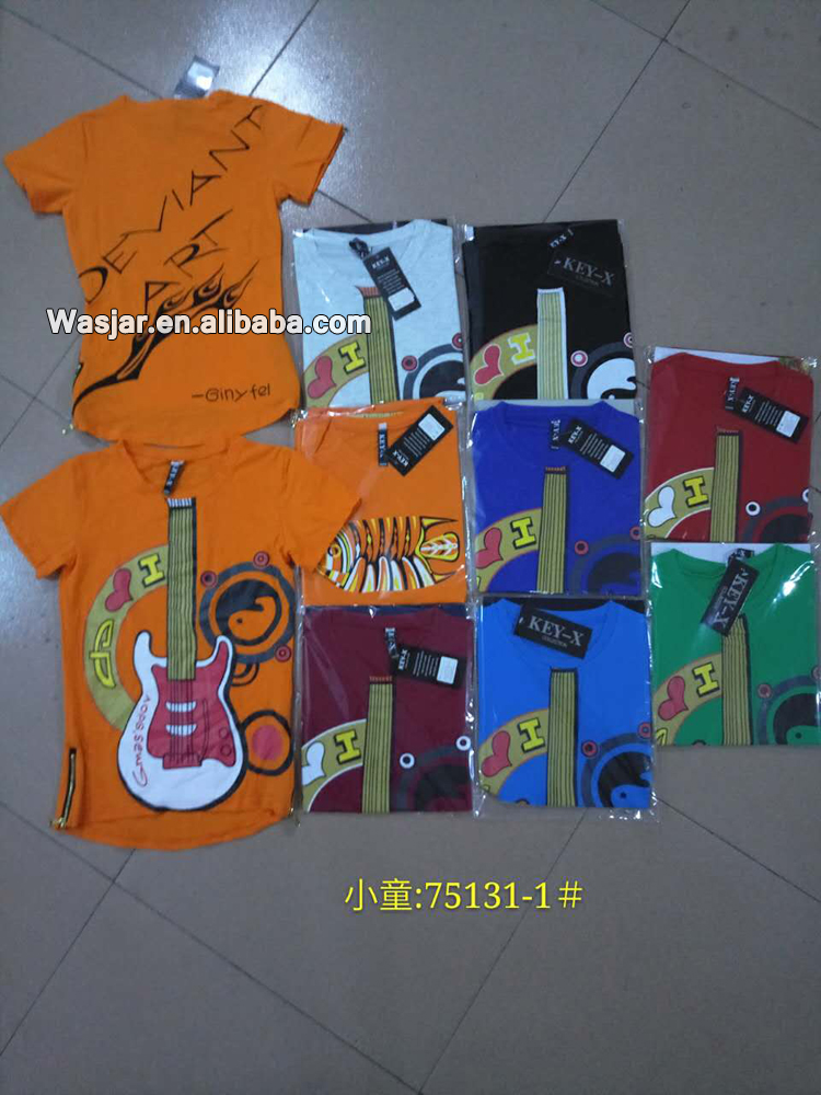 Guangzhou Oem Short Sleeves for children Good Quality zipper T-shirt Boy's Clothes made in china