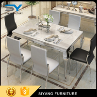 Foshan furniture adjustable height modern stainless steel dining table CT003
