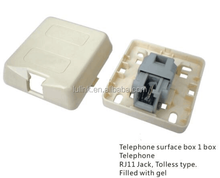 Surface mounting telephone box RJ11 IDC Gel-filled telephone wall jack