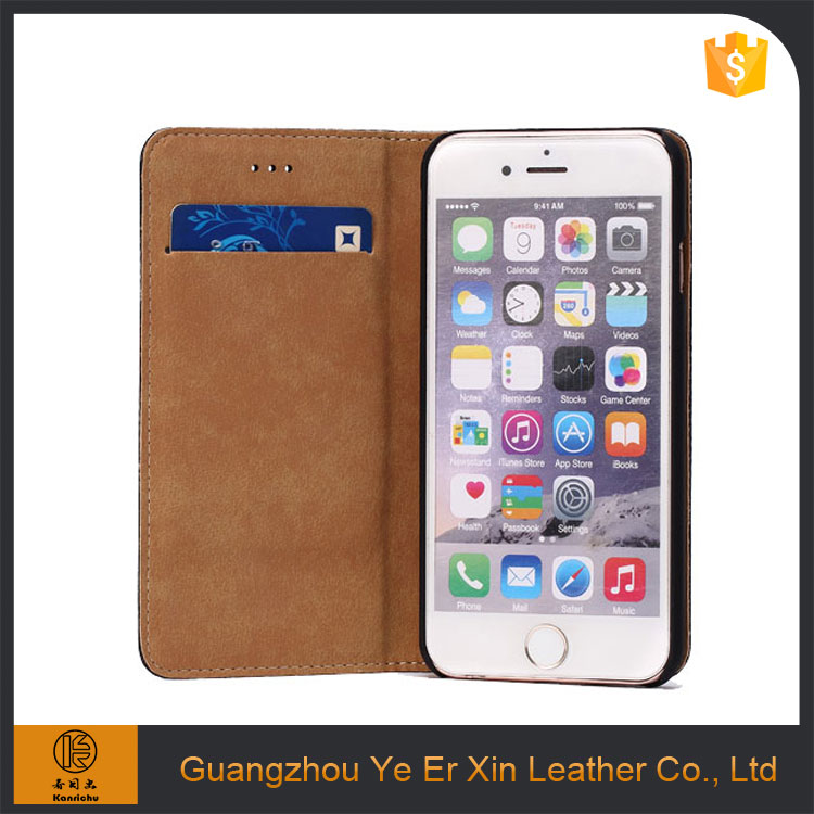 New design beautiful mobile phone back cover, leather wallet cell phone case for iphone 6/6s/7 plus