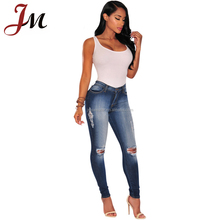 Mujeres al por mayor de señora Denim jeans Super stretch ripped Jogger Denim Jean