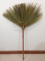 Grass broom with plastic handles/Wood / Thailand traditional and quality 1 meter height