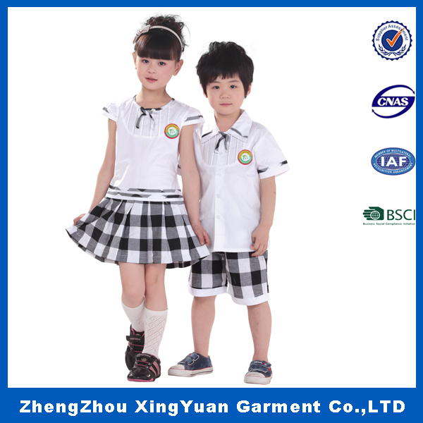 Custom high quality model of primary middle school uniform design for Girls and boys sample