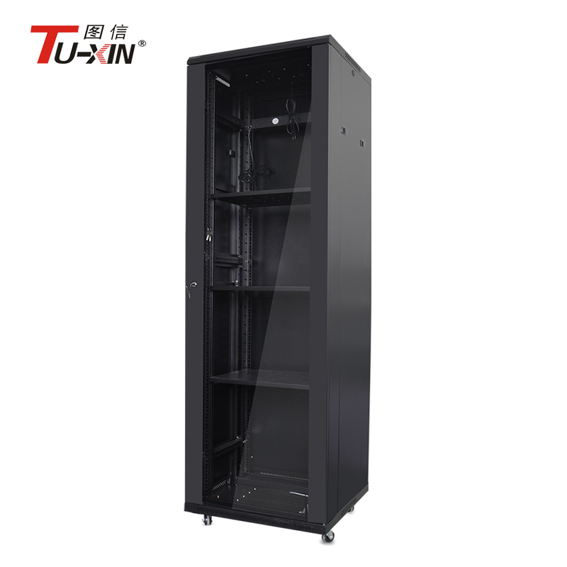 19 inch 42u tempered glass front door server racks and cabinets