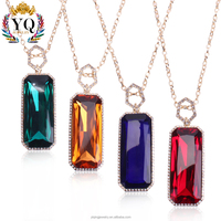 PYQ-00295 High Quality wholesale crystal pendant necklace with rhinestone custom big stone pendant design gold plated