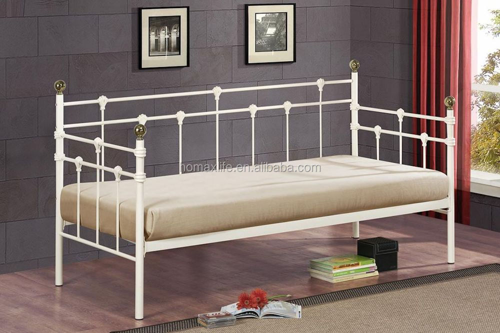 hot sale wrought Iron sofa cum bed design with wooden slat View