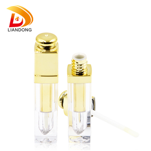 wholesale golden plastic empty unique lip gloss tube/container/jar packaging
