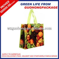 Fruit artwork Laminated non woven shopping bags for promotion
