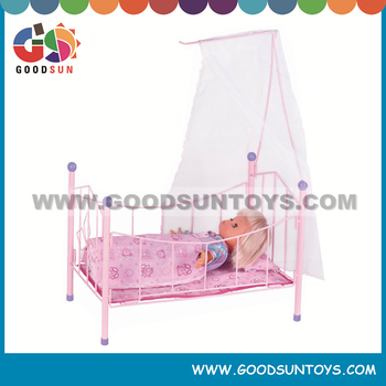 "Modern pet bed crib 16"" cotton doll with metal mini doll bed"