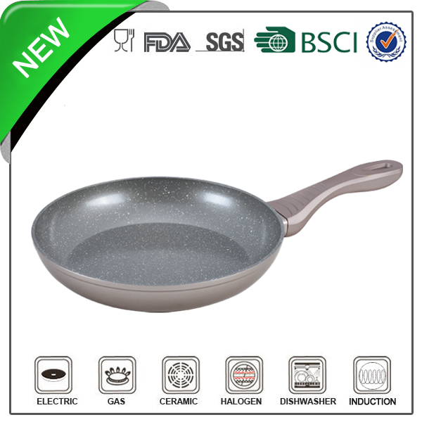 Aluminum household granite stone fry pan with safe handle