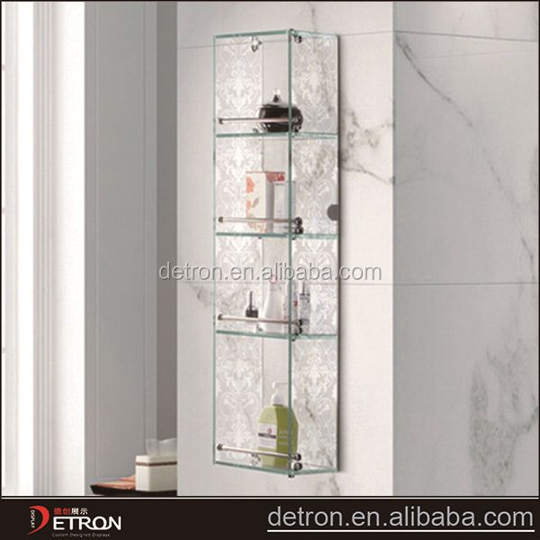 Glass shelf storage container toilet accessories