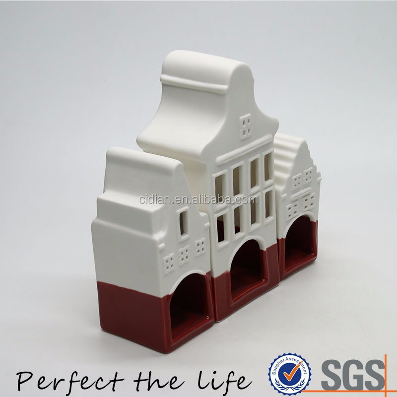 3 pieces Ceramic Village House Building for Gift Set