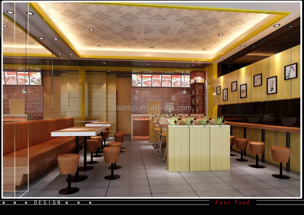 3D Interior And Exterior Design For Fast Food Restaurant