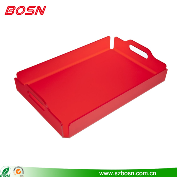 Acrylic Serving Tray Red With Handles