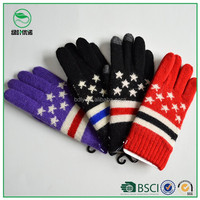 Wholesale cheap acrylic winter warm knitted gloves with Little stars ornament for women