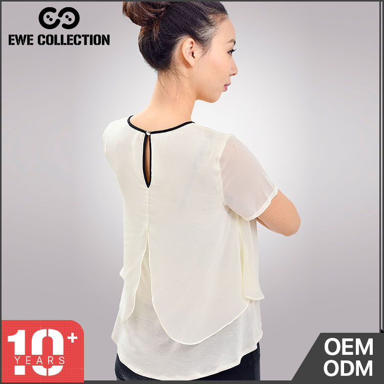 Elegant fashionable latest fashion women o neck blouse designs for office