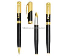 carving gold clip sapphire metal pen set