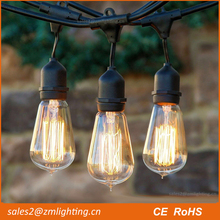 Clear edison bulb ST64 tungsten string light vintage for outdoors