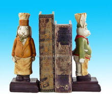 wooden Chef Rabbit Bookends, Cook Cooking Kitchen Rabbit Book Ends