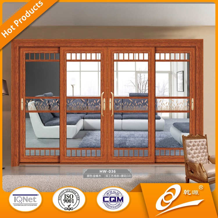 aluminum frame clear tempered glass bedroom sliding door for villa
