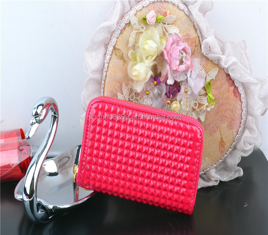 Paris Royal lovable double peach color long style women wallet in handmade craft clutch sheep leather purse for prince