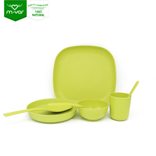 Factory use bamboo fiber material make strypped-down ceramic tableware