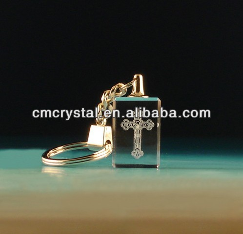 lasered cross crystal keyring business gift wholesale