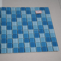 Building material blue crystal glass mosaic tile for swimming pool