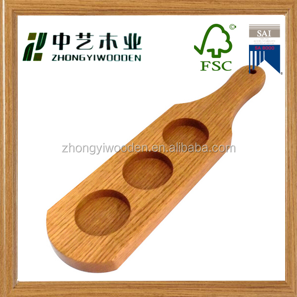 factory sale FSC&ISO9001 christmas wooden beer wine glass drinking cup flight serving tray