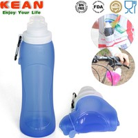Foldable BPA Free Silicone Flip Top Sport Water Bottles