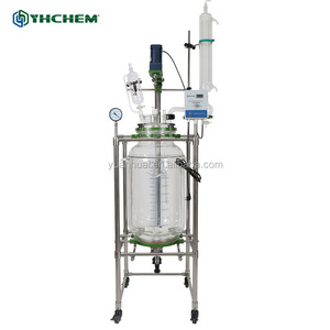 Large 100L chemical reactor, made of borosilicate glass and S.S. 304