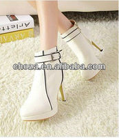 C50756S WINTER KOREAN FASHION STYLE SIDE ZIPPER LADIES HIGH HEEL SHOES