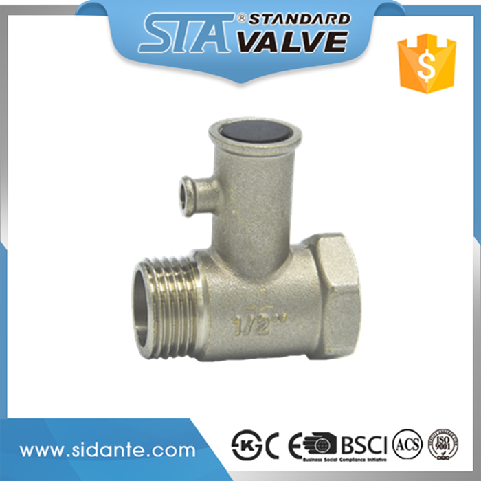"ART.5112 1/2"" nickel plated medium pressure cw617n brass pressure relief safety valve for electric water heater without handle"
