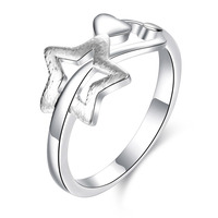 Custom Engagement Rings Romantic Silver Plated Heart & Star Shaped Rings for Women Creative Love Ring Wedding Jewelry