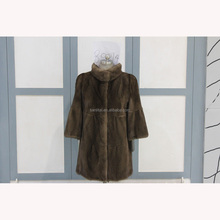 Popular color fur coat mink women with fashion stand collar