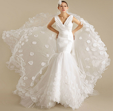 OEM Custom Made 2016 Real Photo Mermaid V Neck Tulle Pleated Leaves Bridal Wedding Dresses
