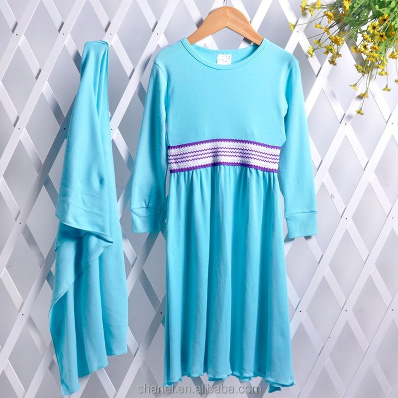 wholesale girls muslim cotton abaya dress malaysia national children's suit baju kurung
