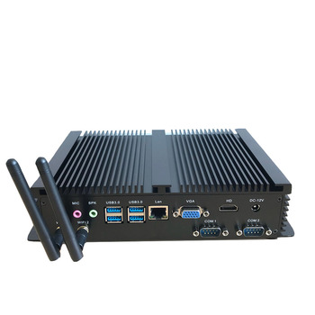 Intel Core CPU 2 serial COM ports dual display fanless Powerful dual serial ports Windows10 Linux Thin-client Mini PC