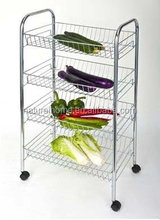 Small kitchen designs steel pipe metal racks iron cheap storage fruit rack with 4 wheels
