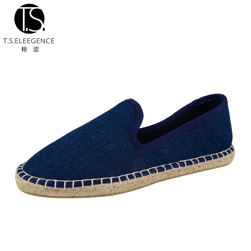 Espadrilles Comfortable Slip on China Wholesale Woman Blue Denim Shoe