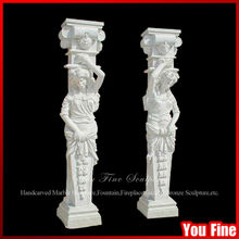 Ornamental Roman Design Marble Statue Pillar For Sale