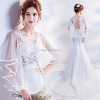 New Arrival Sexy Backless Short Sleeve Mermaid Wedding Dress
