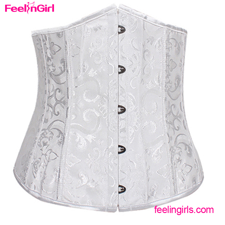 Slimming White Underbust Steel Boned Corsets Bustiers Vintage Sexy
