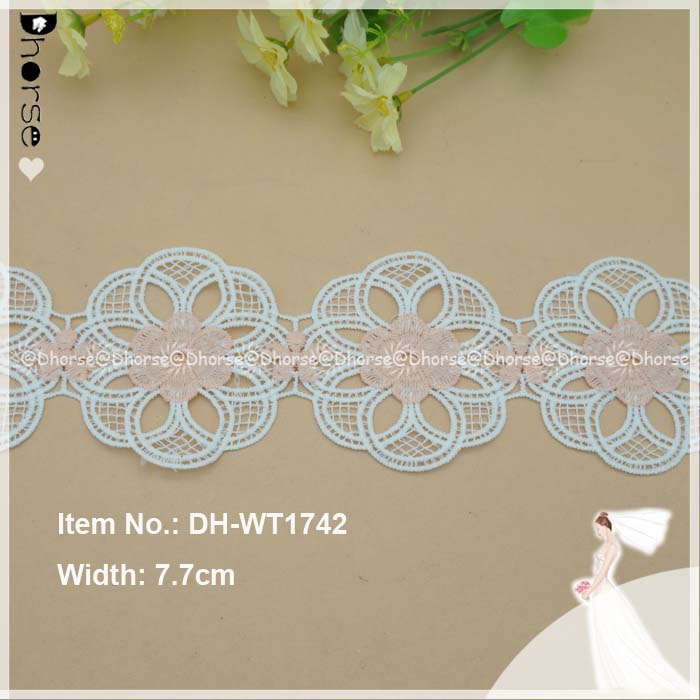 Cheap Wholesale Water Soluble Lace Fabrics,Polyester Lace Trim,Embroidery Lace Trimming