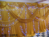 wedding props supplier gauze drapes for wedding stage decorations with swag background curtains event curved fabric backdrop